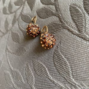 Earrings: Multi colored gold beads, EUC!